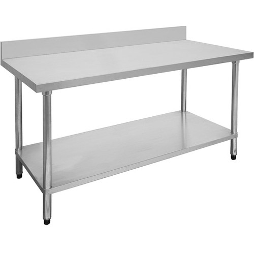 0300-7-WBB Economic 304 Grade Stainless Steel Table with splashback 300mm x 700mm x900mm