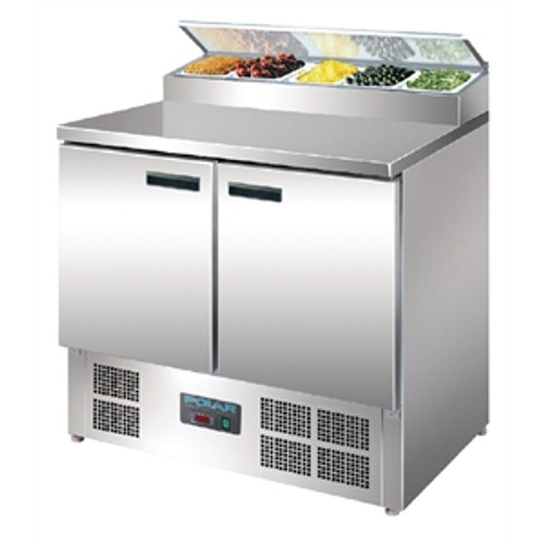 G604-A G-Series Polar 2 Door Salad & Pizza Prep Counter Fridge Stainless Steel 254Ltr