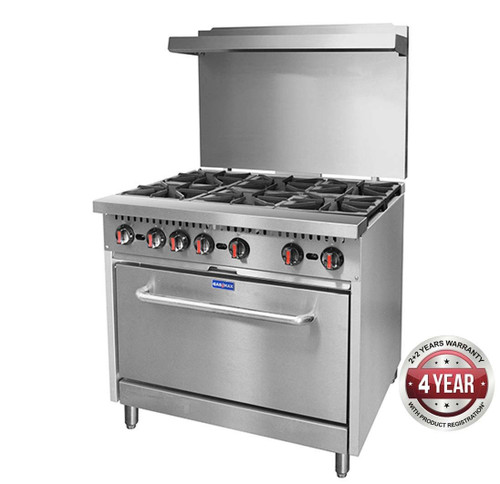 S36(T) - Gasmax 6 Burner with Oven Flame Failure 915mm W x 830 D x 911 H