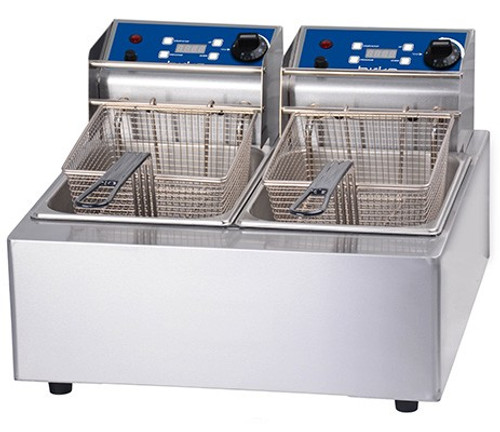 1001002 Birko Double 5L Fryer 2x10amp 550mm W x 435 D x 350 H
