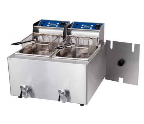 1001004 Birko Double 8 L Fryer  W/Tap 2x15amp 550mm W x 500 D x 400 H