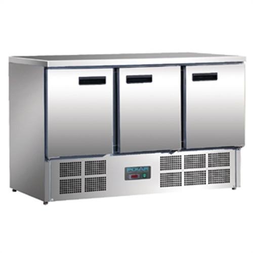 Polar G-Series 3 Door Counter Fridge 368Ltr Stainless Steel G622-A