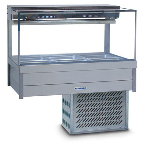 Roband Square Glass Refrigerated Display Bar - Piped and Foamed only (no motor)