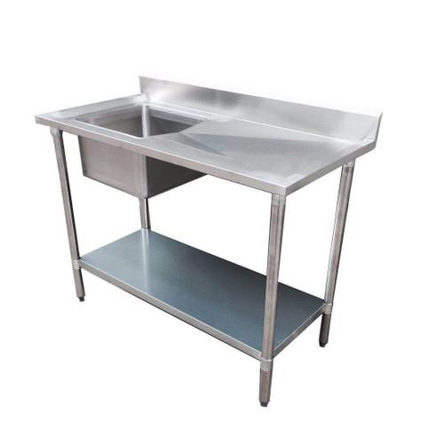 1200-6-SSBL Economic 304 Grade SS Left Single Sink Bench 1200mm W x 600 D x 900 H with 400x400x250 sink