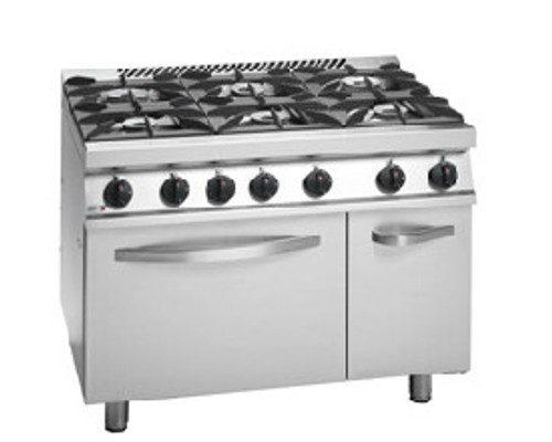 CG7-61H Fagor 700 Series Natural Gas 6 Burner with Gas Oven and Neutral Cabinet under