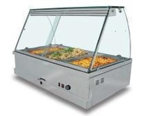 NKE-3B Deaken Euro 3 Bay Glass Top Bain Marie Hot Food Warmer with Heat Lamps