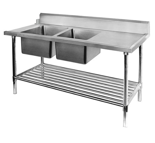 DSBD7-2400L/A Left Inlet Double Sink Dishwasher Bench