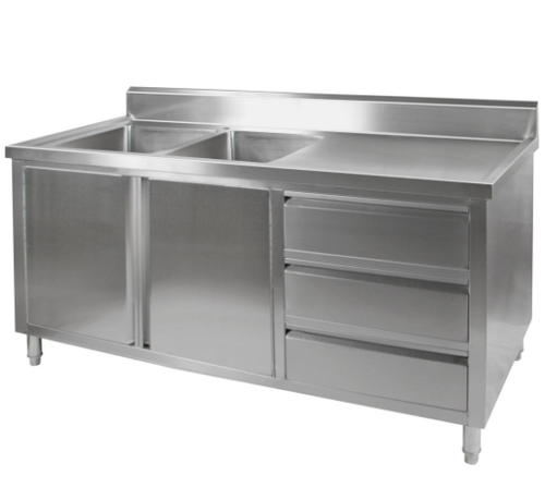 DSC-2100L-H KITCHEN TIDY CABINET WITH DOUBLE LEFT SINKS