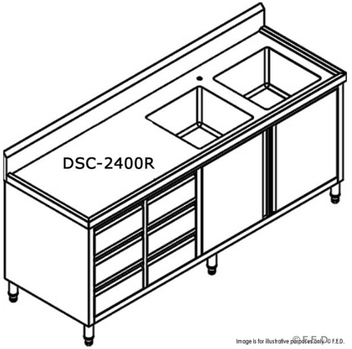 DSC-2400R-H Kitchen Tidy Premium Stainless Steel Cabinet With Right Double Sinks, Doors & Drawers 2400mm Width