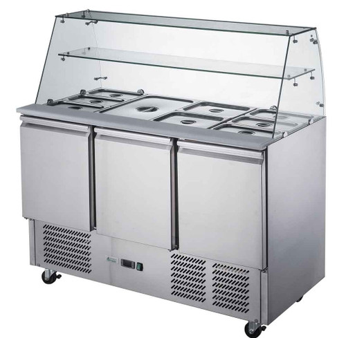 XS903GC FED-X Three Door Salad Prep Fridge with Square Glass Top Net Capacity: 368L 1368mm Width