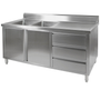 DSC-1800L-H Kitchen Tidy Premium Stainless Steel Cabinet With Double Left Sinks, Doors & Drawers 1800mm Width