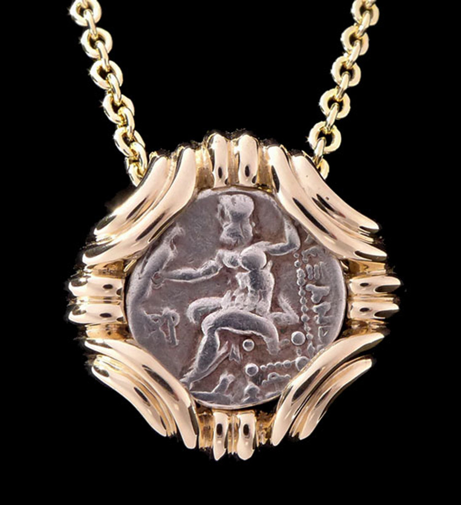 ANCIENT GREEK GORDIAN KNOT PENDANT IN 14K GOLD WITH ALEXANDER THE GREAT DRACHMA COIN  *CPG200