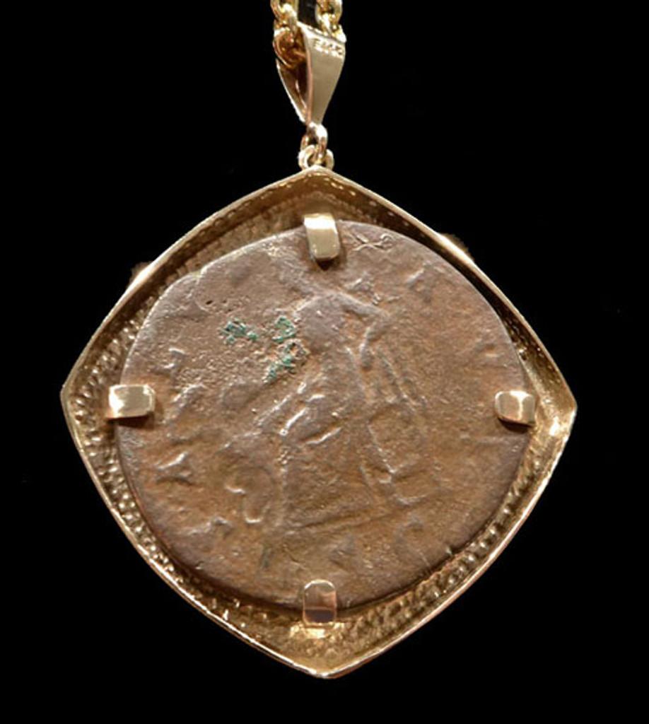 LARGE ANCIENT ROMAN BRONZE ANTONINUS PIUS COIN PENDANT IN 14KT GOLD  *CPR200