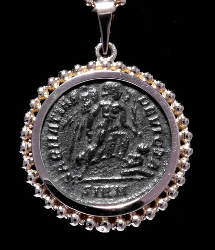 CONSTANTINE ANCIENT CHRISTIAN ROMAN ANGEL COIN IN 14KY GOLD BEADED PENDANT SETTING  *CPR209