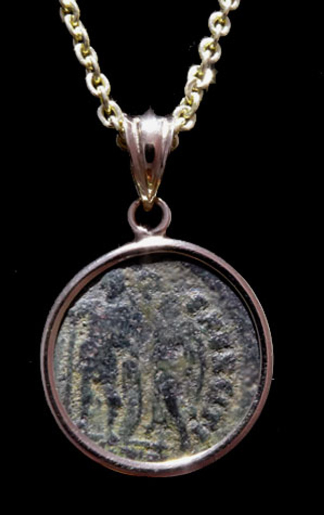 CPR206 - ANCIENT CHRISTIAN ROMAN ANGEL CROWNING SOLDIER COIN IN 14KY PENDANT SETTING