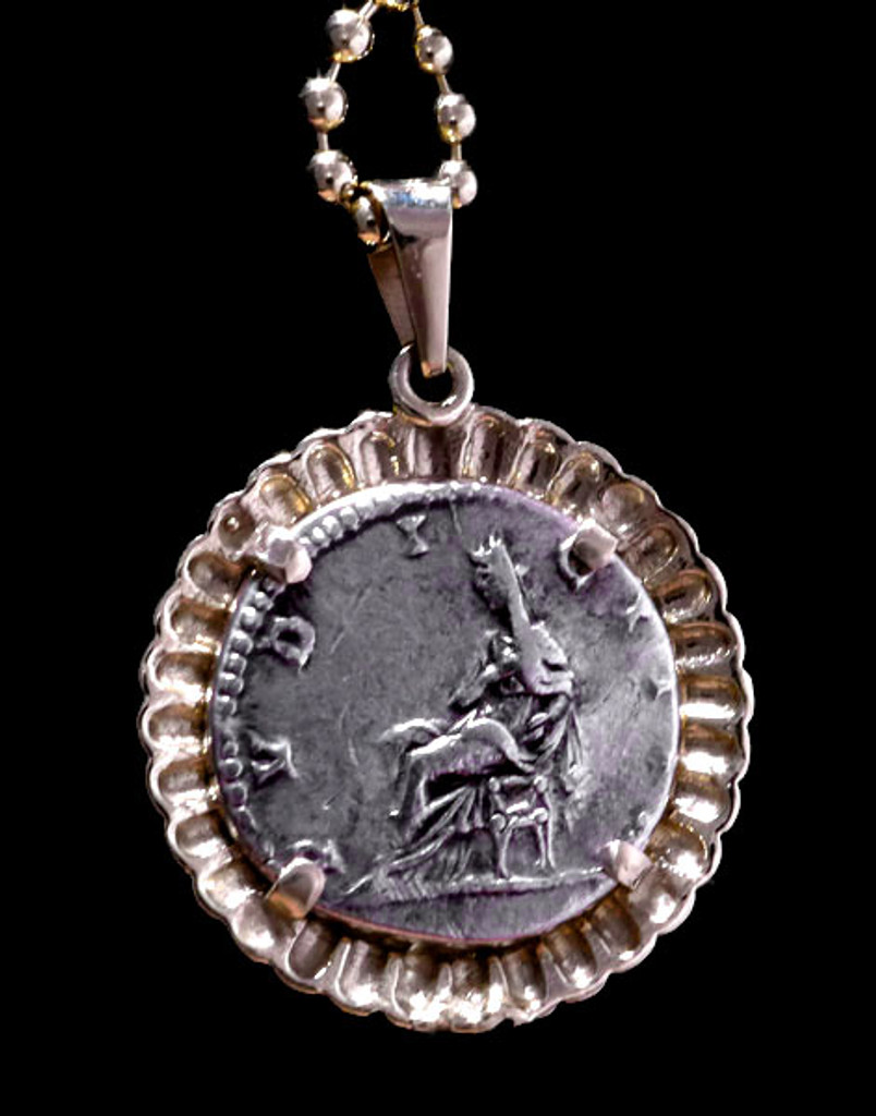 ROMAN EMPRESS COIN PENDANT OF JULIAN DOMNA WITH VESPA IN RADIATING GOLD SETTING  *CPR204