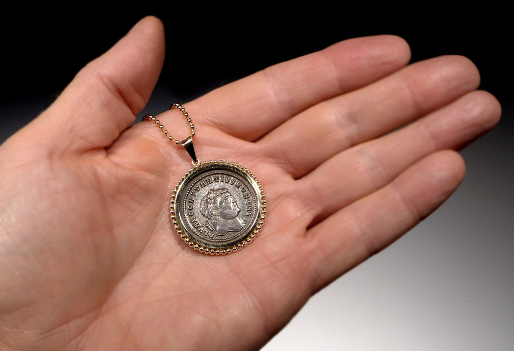 IMPRESSIVE ANCIENT SILVERED FOLLIS ROMAN COIN IN 14KT GOLD BEADED PENDANT SETTING  *CPR202