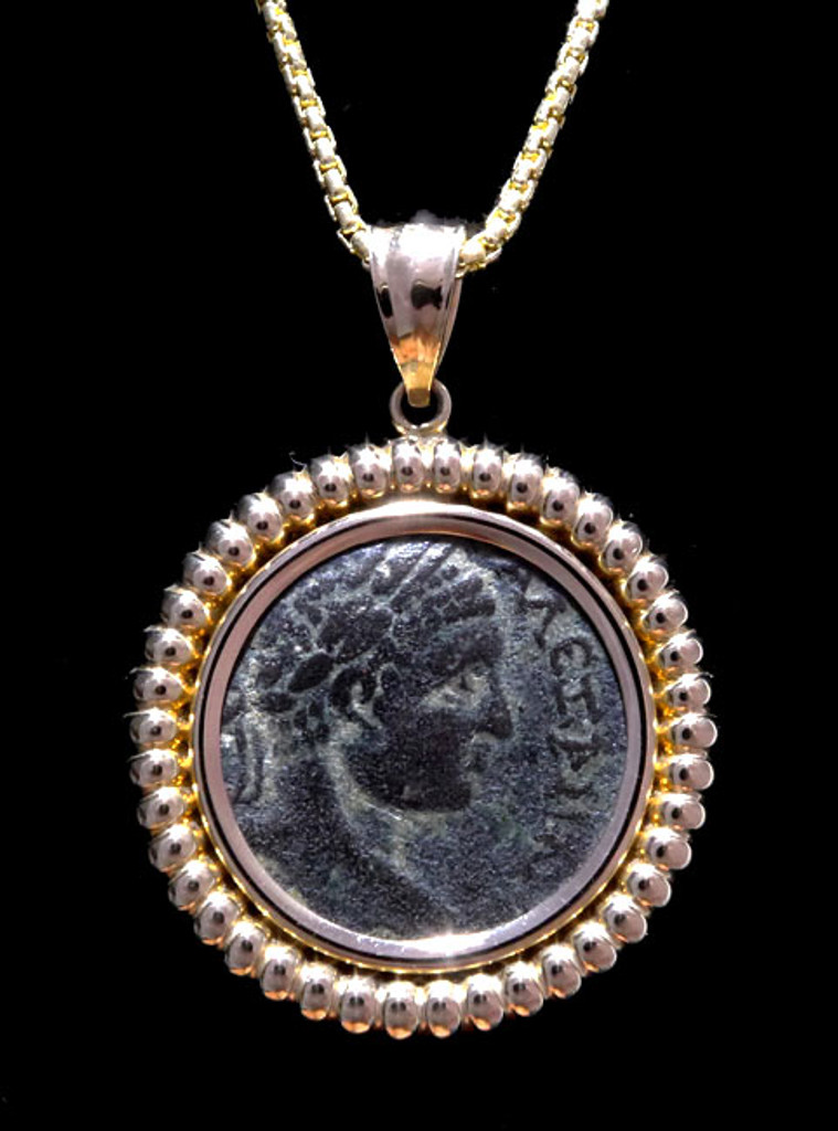 ANCIENT COIN PENDANT OF ROMAN SYRIAN EMPEROR ELAGABALUS IN 14KT GOLD *CPR205
