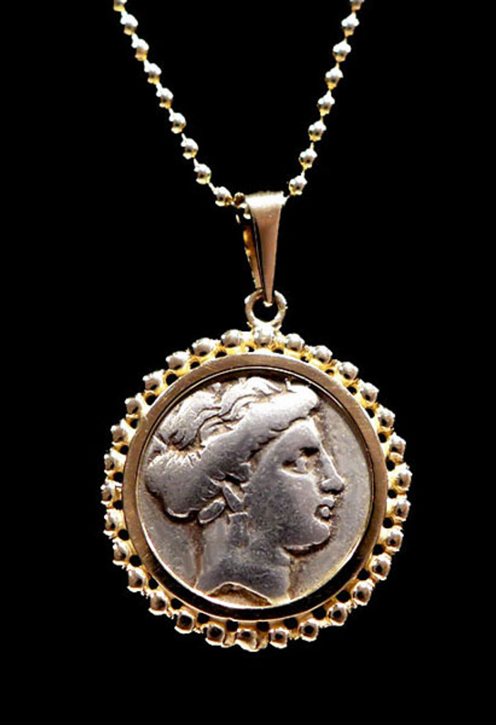 ANCIENT GREEK NYMPH COIN PENDANT IN BEADED 14KT GOLD SETTING  *CPG203