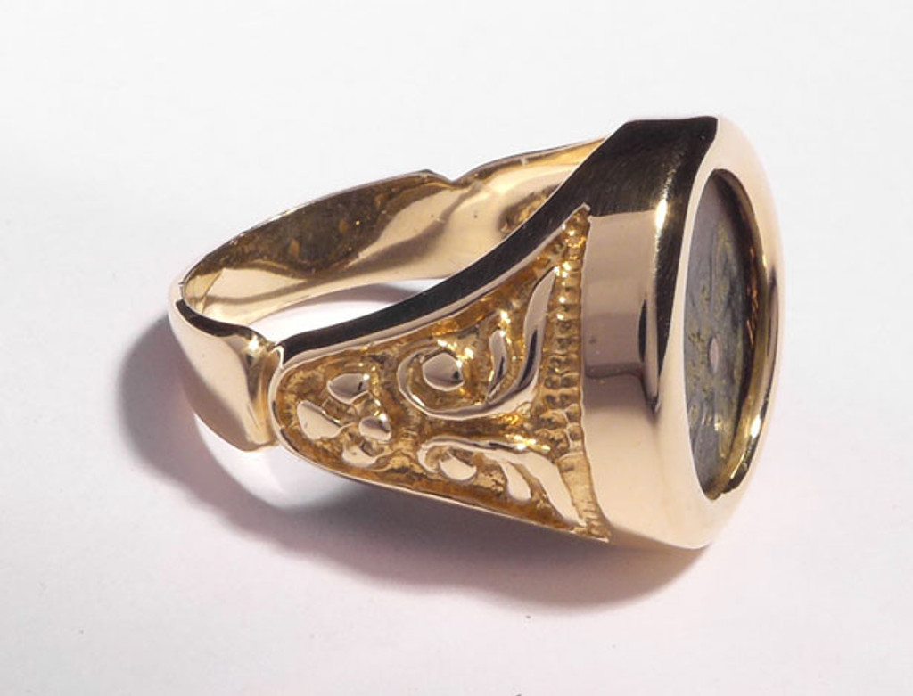 WIDOWS MITE COIN RING WITH ANCIENT SCROLL DESIGN IN 14KT GOLD  *CRB001