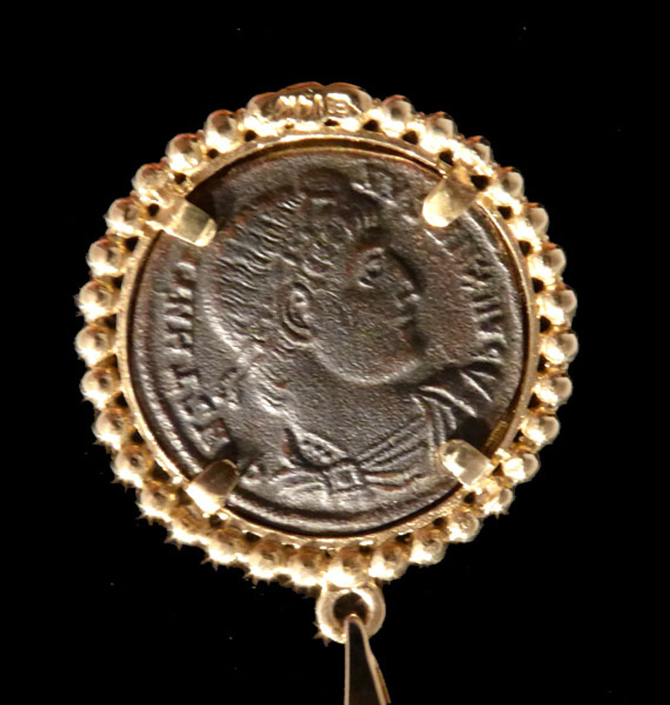 THE GLORY OF THE ARMY ANCIENT CHRISTIAN ROMAN COIN PENDANT IN 14K GOLD  *CPR222