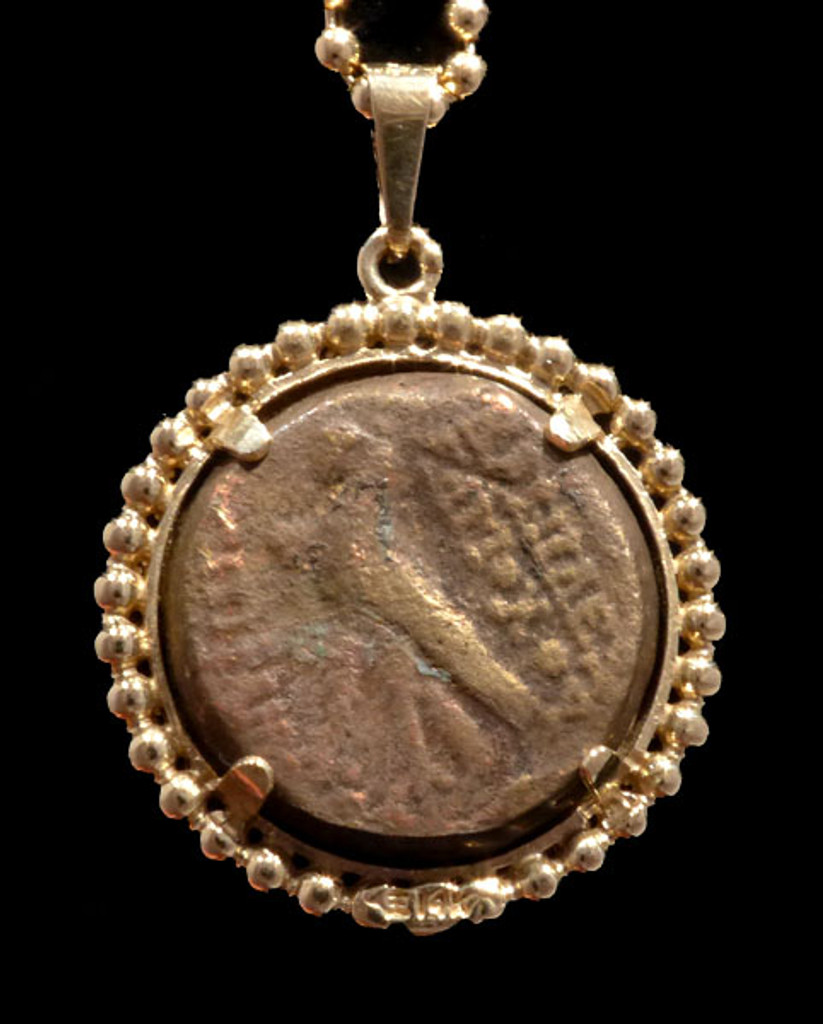 BEAUTIFUL ANCIENT HELLENISTIC GREEK COIN PENDANT OF SELEUCID EMPIRE IN 14K GOLD  *CPG204