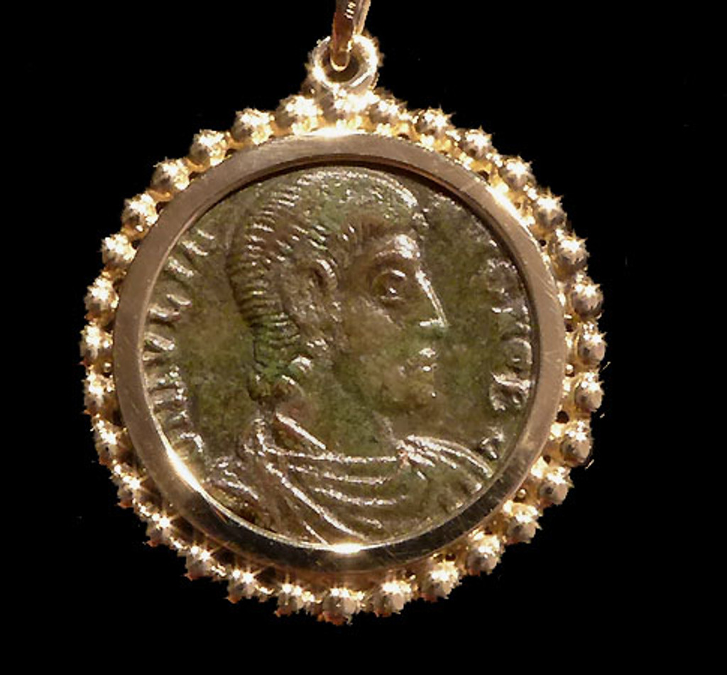 ANCIENT CHRISTIAN ROMAN COIN PENDANT OF CONSTANTIUS II IN 14K GOLD  *CPR219