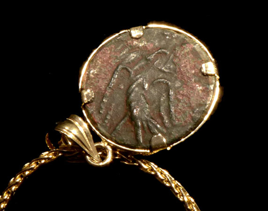 CPR215 - EXECUTIONER OF SAINT VALENTINE ANCIENT ROMAN CLAUDIUS II GOTHICUS COIN IN 14KY PENDANT SETTING