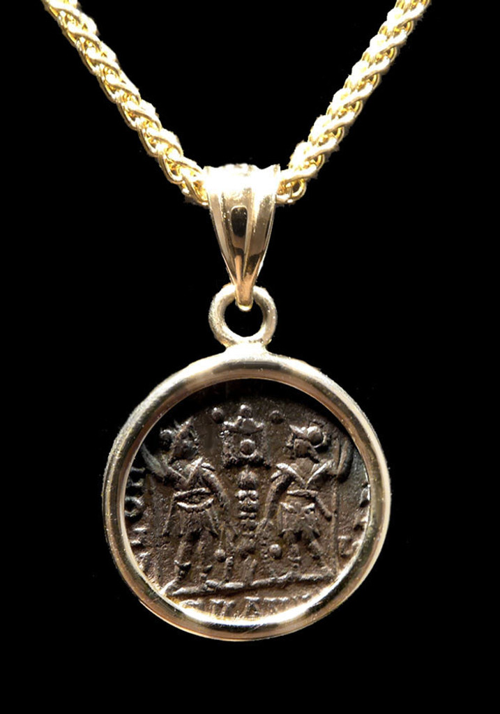 """THE GLORY OF THE ARMY"" ANCIENT CHRISTIAN ROMAN CONSTANTINE COIN PENDANT IN 14K GOLD  *CPR226"