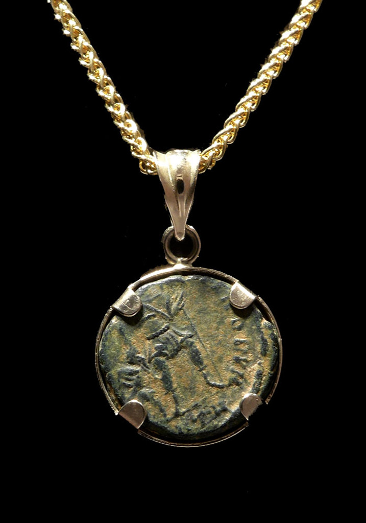 """""""GLORY OF THE ROMANS"""" ANCIENT ROMAN VALENTINIAN COIN PENDANT IN 14K GOLD  *CPR228"""