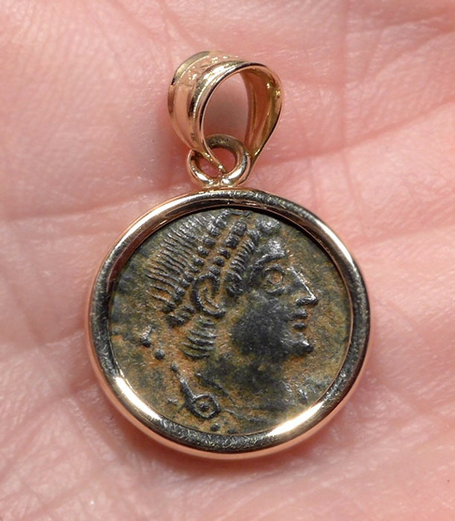 """GLORY OF THE ROMANS"" ANCIENT ROMAN VALENTINIAN COIN PENDANT IN 14K GOLD  *CPR228"