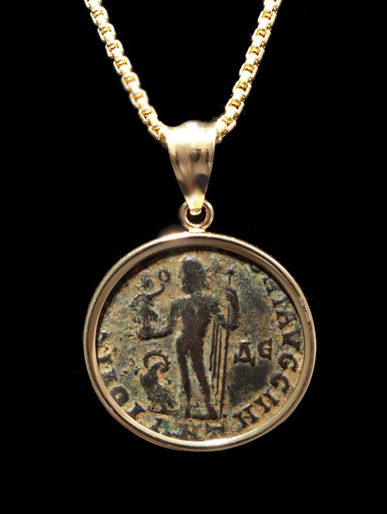 ANCIENT ROMAN JUPITER GOD COIN FROM LICINIUS IN 14 KARAT GOLD PENDANT  *CPR236