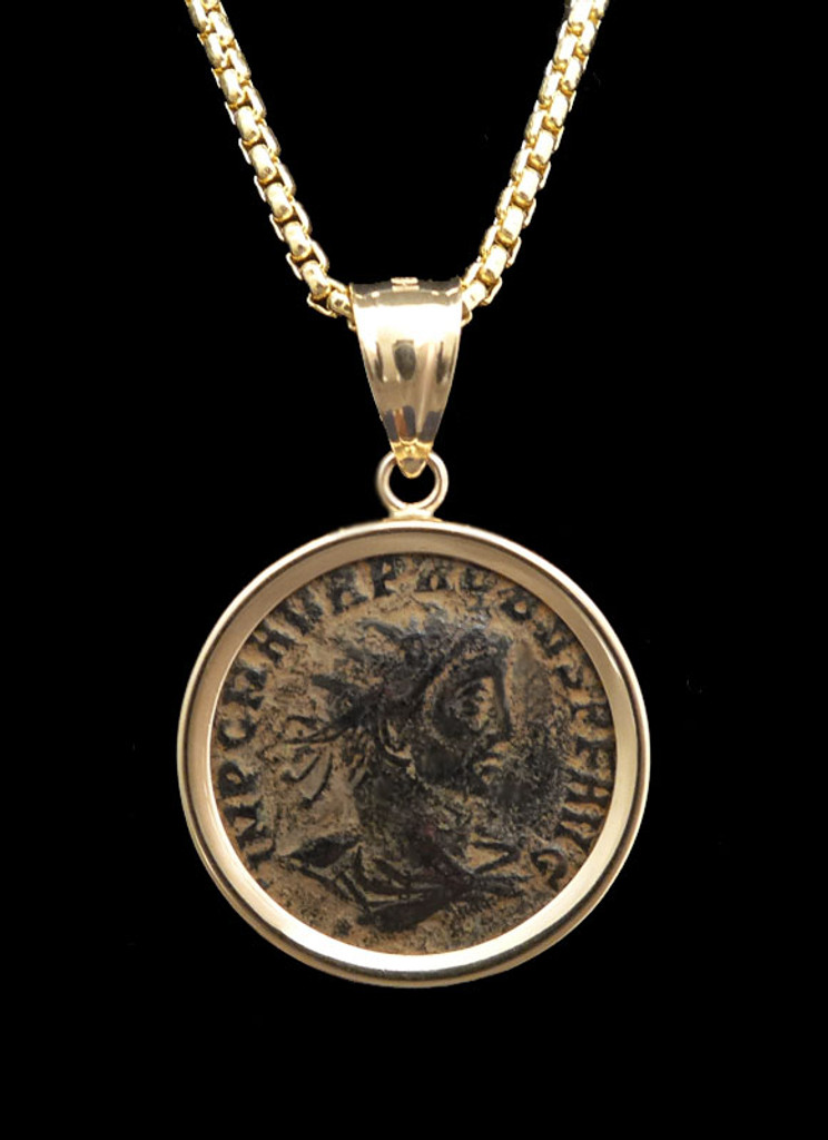 IMPERIAL ROME COIN PENDANT OF DECORATED MILITARY EMPEROR PROBUS COIN IN 14KT GOLD *CPR234