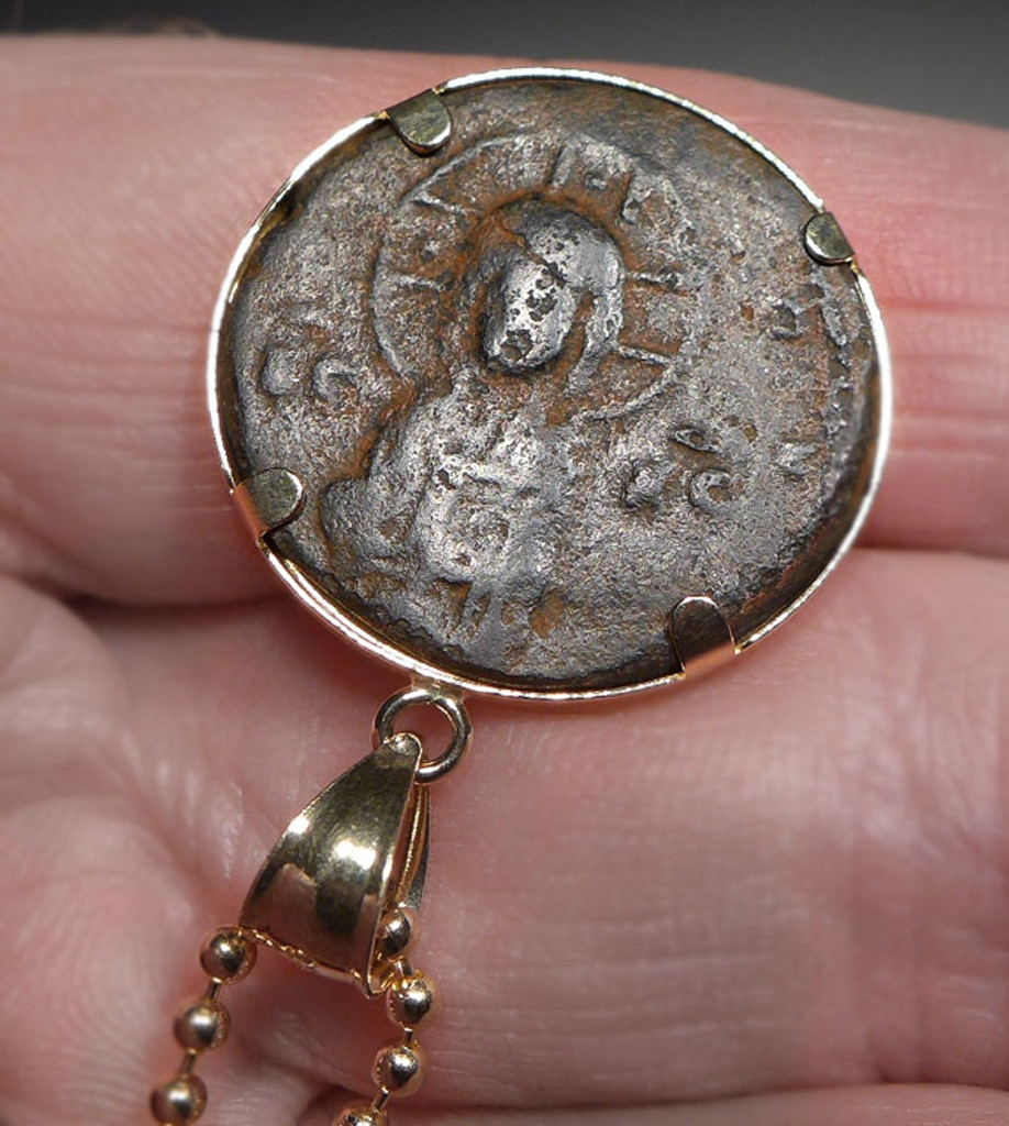 JESUS CHRIST CONQUERS ANCIENT COIN 14K GOLD PENDANT WITH ROMAN BYZANTINE FOLLIS  *CPB039