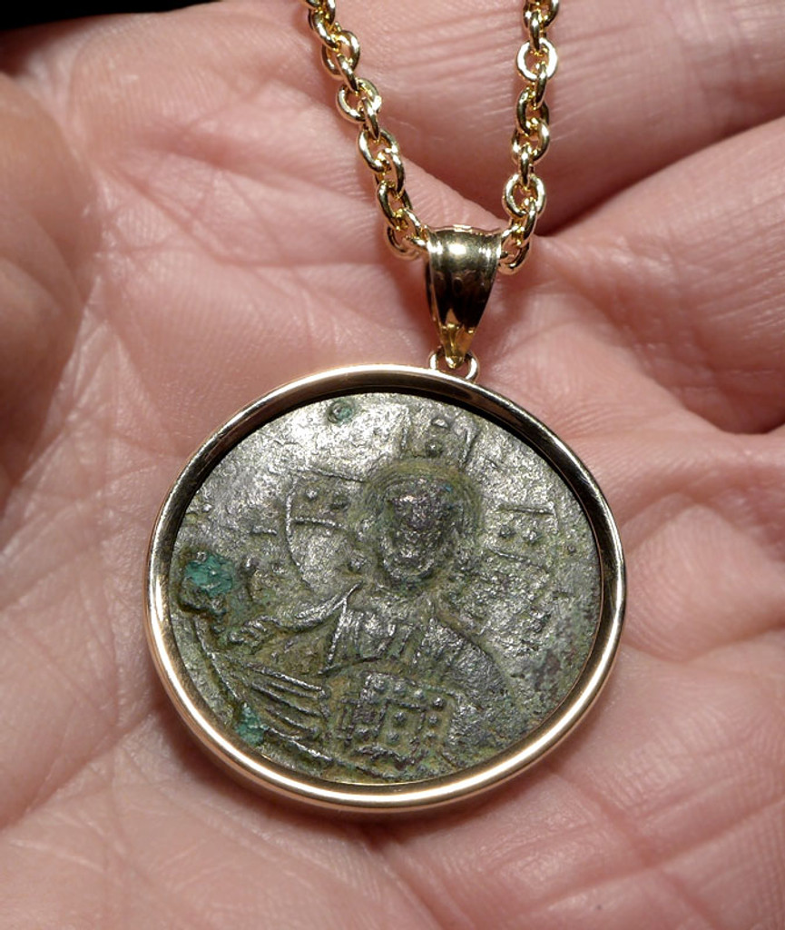 LARGE BEAUTIFUL JESUS CHRIST ANCIENT ROMAN BYZANTINE COIN IN 14K GOLD PENDANT WITH EXCEPTIONAL GREEN PATINA  *CPB037