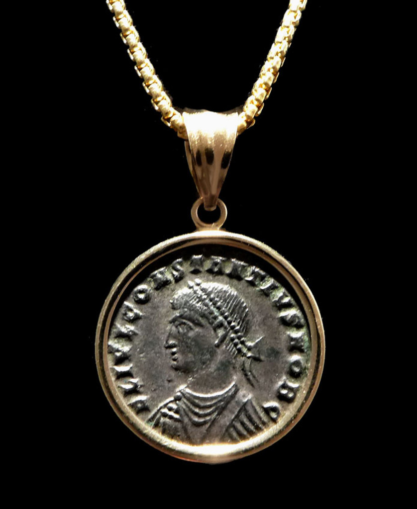 HOUSE OF CONSTANTINE ANCIENT ROMAN COIN PENDANT OF CONSTANTIUS II IN 14K GOLD  *CPR230