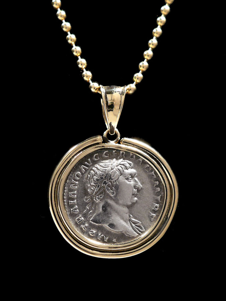 AEQUITAS JUSTICE AND EQUALITY ROMAN ANCIENT COIN PENDANT WITH EMPEROR TRAJAN IN 14K GOLD  *CPR233