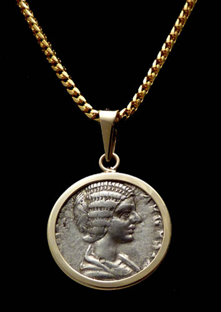 CPR166 - BEAUTIFUL ROMAN EMPRESS JULIAN DOMNA WITH GORGEOUS ANCIENT HAIR STYLE COIN PENDANT