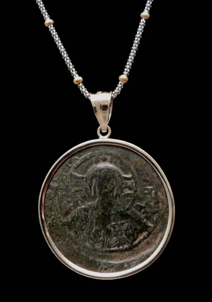 CPB029 - LARGE CHRISTIAN ROMAN BYZANTINE COIN PENDANT FEATURING CHRIST HOLDING GOSPELS