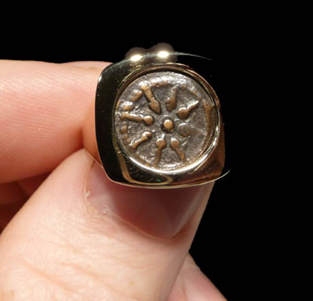 WIDOW'S MITE SQUARE POLISHED COIN RING IN 14K GOLD  *CPBC005