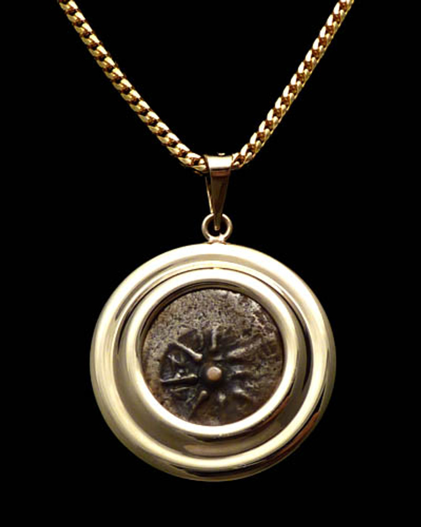 CB01 - WIDOW'S MITE COIN PENDANT WITH DOUBLE RIBBED POLISHED 14KT GOLD SETTING