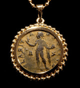 ANCIENT SUN WORSHIPPER ROMAN SUN GOD 'SOL' COIN PENDANT IN 14K GOLD  *CPR221