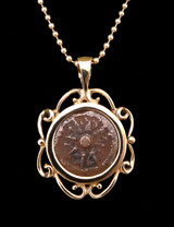 WIDOWS MITE COIN PENDANT IN 14KT GOLD SCROLL SETTING  *CB03