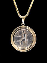 ZEUS ON THRONE ANCIENT GREEK COIN PENDANT IN 14K GOLD WITH ALEXANDER THE GREAT  *CPG030