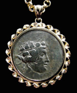 RIBBON SCROLL 14K GOLD PENDANT OF ANCIENT GREEK DIONYSOS WINE GOD BRONZE COIN  *CPG004