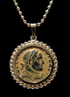 CPR201 - CONSTANTINE ANCIENT ROMAN COIN IN 14KY GOLD BEADED PENDANT SETTING
