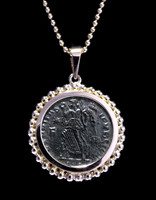 CONSTANTINE ANCIENT CHRISTIAN ROMAN ANGEL COIN IN 14KY GOLD BEADED PENDANT SETTING  *CPR207