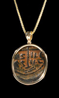 ANCIENT CHRISTIAN COIN PENDANT WITH BYZANTINE FOLLIS COIN OF JESUS IN 14KY GOLD SETTING  *CPB033