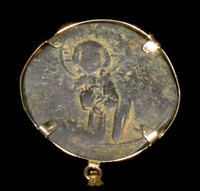 CPB032 - LARGE CHRISTIAN ROMAN BYZANTINE COIN PENDANT WITH IN CHRIST, VICTORY INSCRIPTION IN 14K GOLD