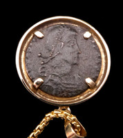 ANCIENT CHRISTIAN ROMAN COIN PENDANT OF HORSEMAN SPEARING FALLEN SOLDIER IN 14KT GOLD  *CPR224